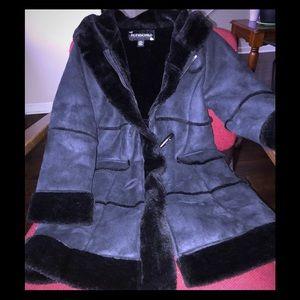 Rothschild Child Super Soft Fur Black Pea Coat 7/8